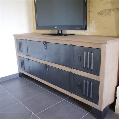 bureau chene gris meuble tv buffet bois metal industriel sur mesure fab