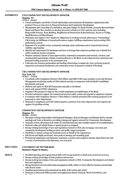 Exle Of A Written Cv Application by Community Development Officer Resume Sles Velvet