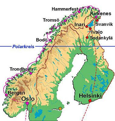 Flughäfen Finnland Karte