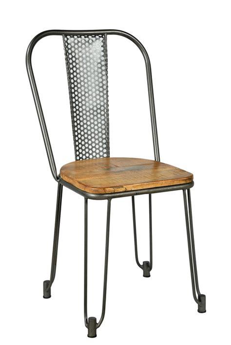 chaise métal et bois chaise industrielle ajourée batignolles en métal et bois