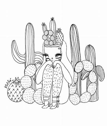 Coloring Pages Cactus Llamacorn Cacti Valfre Colorings