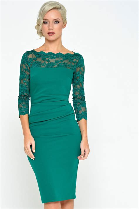 sleeve midi dress goddiva katherine lace neck midi dress in emerald green