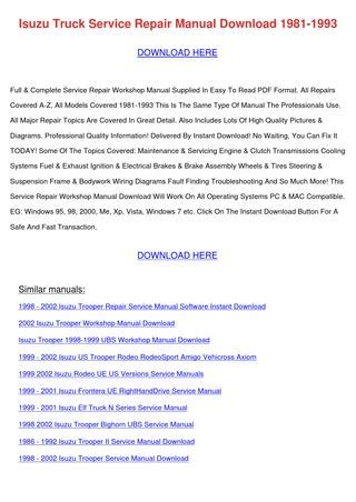 Isuzu Truck Service Repair Manual Download