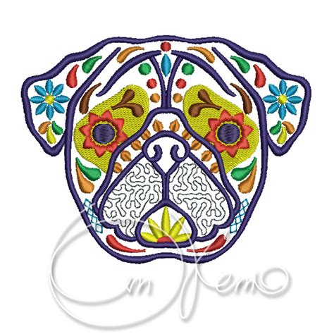 dia design machine embroidery design calavera pug dia de los muertos