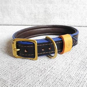 london series luxury leather dog collar brigand blue