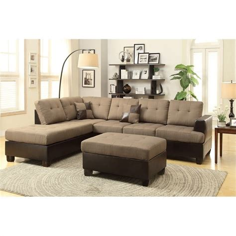 poundex reversible sectional sofa poundex bobkona winden 3 reversible sectional sofa
