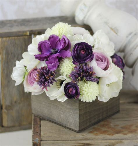 wedding centerpiece arrangement silk flowers rustic chic