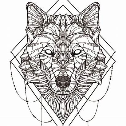 Geometric Wolf Wood