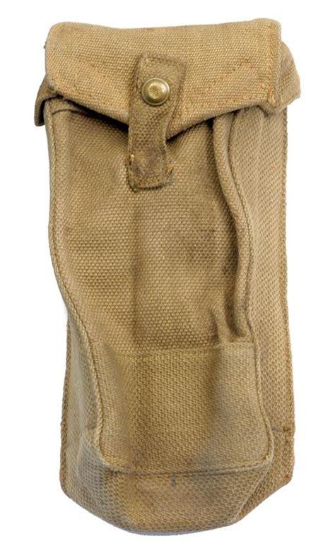 magazine pouch w belt loop khaki canvas wwii dated vg to exc gun