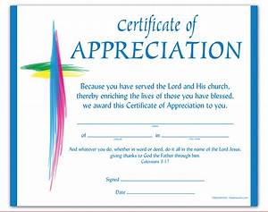 Discontinued certificate of appreciation for Church certificate of appreciation