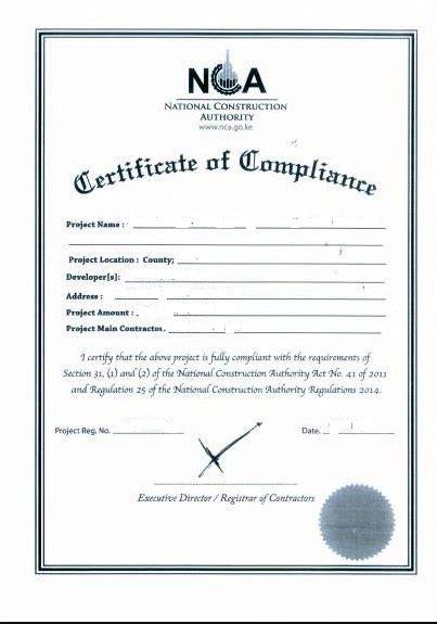 certificate compliance land registry