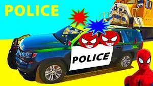 Police Car and SPIDERMAN for Children Cartoon with