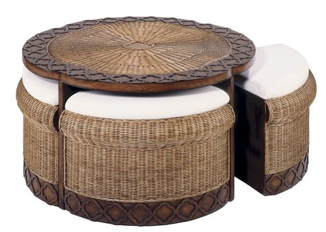 table with ottomans underneath wicker coffee table design images photos pictures