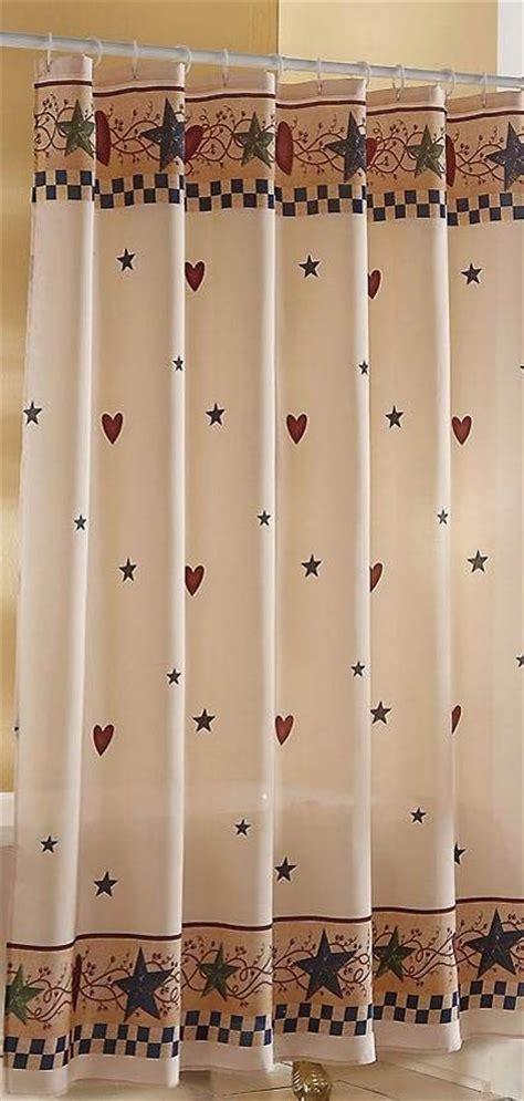 country shower curtain hearts shower curtain primitive
