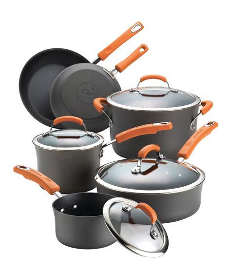 ray rachael cookware hard anodized orange nonstick handles