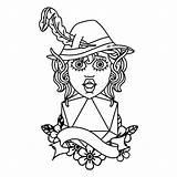 Elf Character Bard Twenty Natural Linework Tattoo Illustrations Vectors sketch template