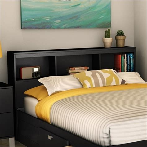 Black Bookcase Headboard by South Shore Affinato Bookcase Headboard In Black