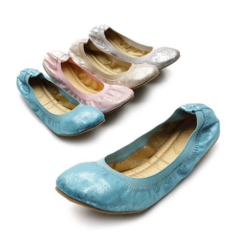 new womens shoes ballet flats loafers comfort metalic