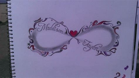 infinity tattoo design   childrens names  shaded