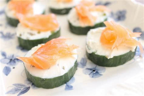 easy canapes salmon cucumber and cheese