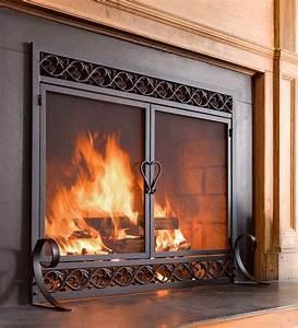 Fire, Screen, Double, Doors, Black, Cast, Iron, Firescreen, Fireplace, Flat, Guard, Chimney