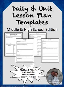 editable lesson plan lesson unit plan templates for middle or high school tpt