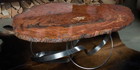 Petrified Wood Tables With Custom Table Legs Indosign