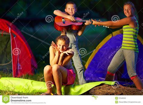 Teenage Kids Having Fun In Summer Camp Stock Photo Image
