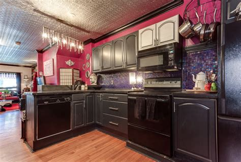 Hot Pink Kitchen With Purple Iridescent Tiles! What Should