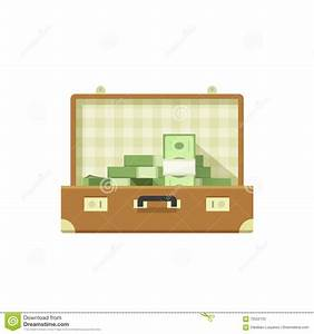 Leather Suitcase Open Full Of Money Vector Illustration ...