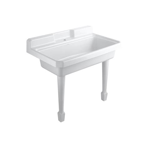shop kohler white cast iron laundry sink at lowes