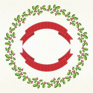 Christmas wreath background with ribbon Vector | Free Download