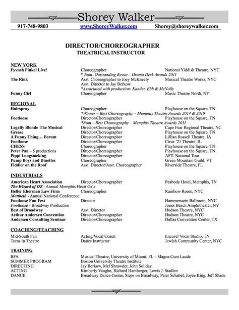choreographers sle resume preparation outline exle