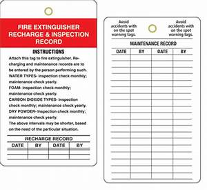 Fire extinguisher inspection record tags fire for Fire extinguisher inspection tag template