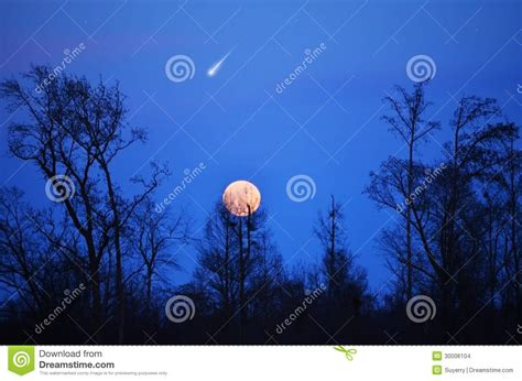Comet Panstarr Star In Blue Sky, Full Moon Stock Images ...