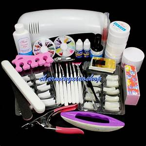 Nail set kit pro art uv gel kits tool lamp brush