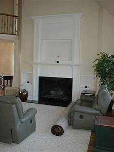 Custom Made Built In Fireplace Mantle For Flat-Screen Tv