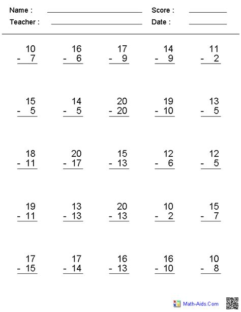 subtraction worksheets dynamically created subtraction