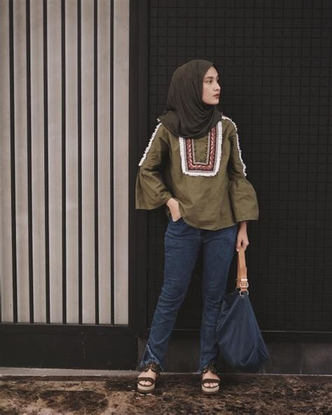 ootd hijab kekinian  kuliah super kasual kece
