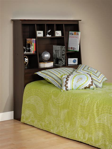 prepac espresso tall twin bookcase headboard esh
