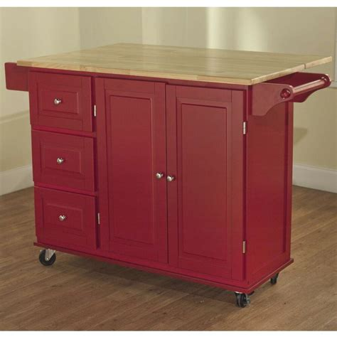 red kitchen cart  storage wood drop leaf island serving table cabinet utility ebay