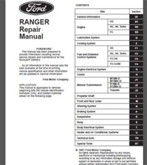 ford ranger everest   workshop service repair