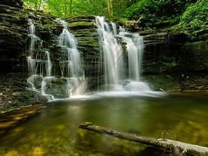 Cascading, Forest, Waterfall, Multnomah, Falls, Oregon, Usa