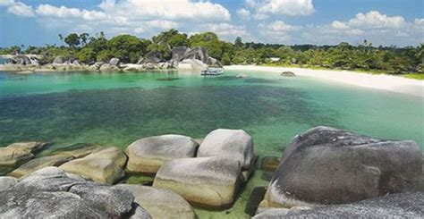 tanjung tinggi beach  view  giant rocks   bluish