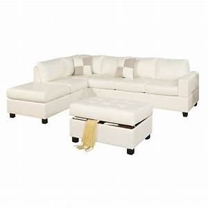 poundex bobkona soft touch 3 piece leather sectional sofa With 3 pieces sectional sofa set