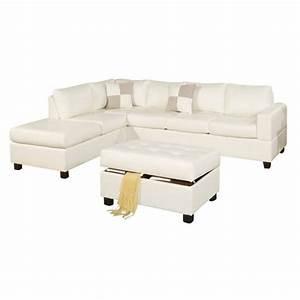 Poundex bobkona soft touch 3 piece leather sectional sofa for Bobkona 3 piece sectional sofa set