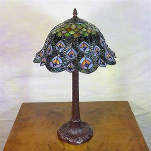 Tiffany style peacock lamp tiffany lamps bronze for Peacock style floor lamp with 5 shades