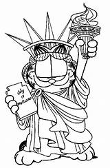 Statue Liberty Coloring Pages Garfield Colouring Drawing Easy Tex Redeemer Christ Crown Template Sketch Printable Netart Getcolorings Bfdi Worst Witch sketch template