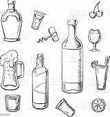 Wine Alcohol Bottles Drinks Cocktails Vector Sketch Whiskey Beer Bottle Liquor Illustration Colouring Drink Coloring Pages Template Food Sketches Lemons sketch template
