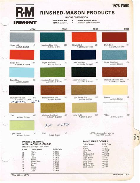 1976 ford color paint sle brochure chart mustang